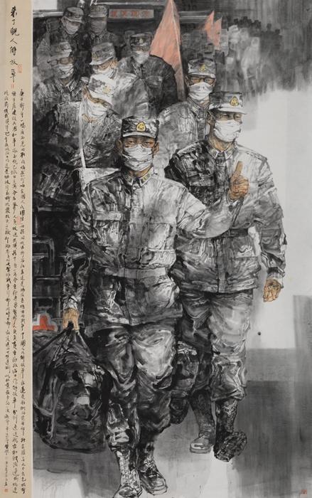 221、袁泉-来了亲人解放军 220x140cm.jpg